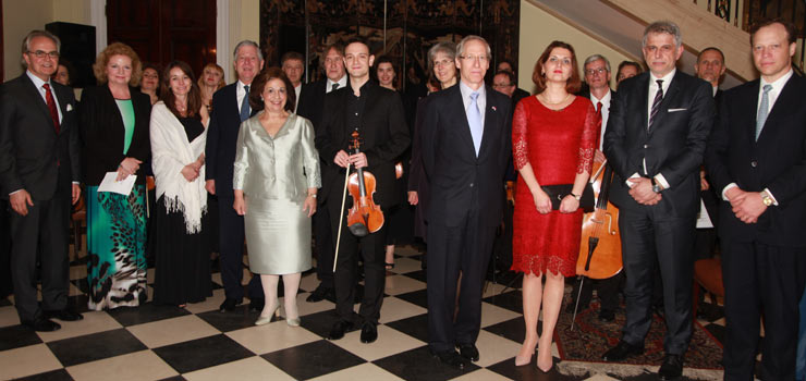 Their Royal Highnesses Crown Prince Alexander II and Crown Princess Katherine and members of diplomatic corps with the Royal St George Strings orchestra