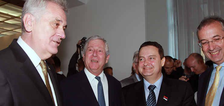 HE Mr Tomislav Nikolic, president of Republic of Serbia, HRH Crown Prince Alexander II, HE Mr Ivica Dacic, first deputy Prime Minister and Minister of Foreign Affairs and HE Mr Michael Davenport, Head of the EU Delegation to Serbia
