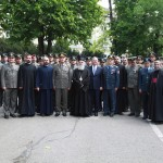His Holiness Patriarch Irinej of Serbia and His Royal Highness Crown Prince Alexander II with officers and soldiers at Topcider miltary barracks