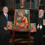 His Royal Highness Crown Prince Alexander II and His Grace Bishop Jovan of Sumadija near the Icon of the Mother of God the milk-bearing