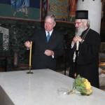 HRH Crown Prince Alexander II and His Grace Bishop Jovan of Sumadija near tomb of Supreme Leader Karadjorjde