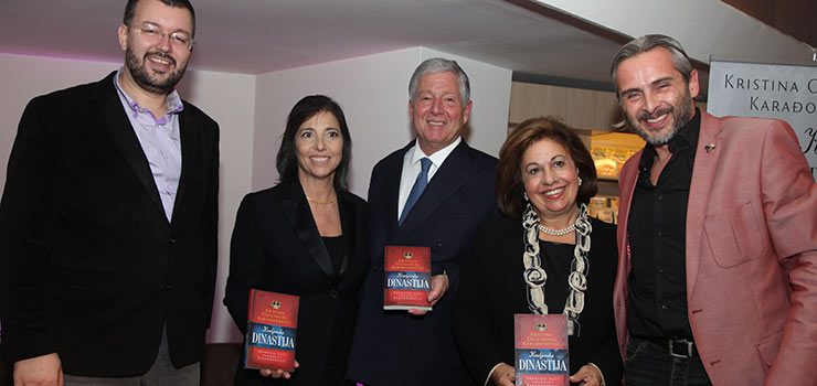 Prof Dr Cedomir Antic, historian and member of the Crown Council, Mrs Katarina Oxenberg, daughter of Princess Elizabeth, HRH Crown Prince Alexander, HRH Crown Princess Katherine and Mr Aleksandar Jovanovic, a journalist