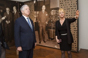 Mr. Predrag Marković, member of the Crown Council, HRH Crown Prince Alexander and Dr Dušica Bojic, Director of the Historical Museum of Serbia viewing the exhibition