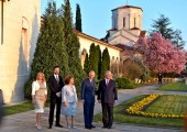 Mrs. Allison Andrews, Hereditary Prince Peter, Crown Princess Katherine, the Prince of Wales and Crown Prince Alexander in front of the Royal Chapel of Saint Andrew the First Called