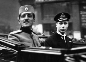 Regent Alexander with Prince Albert in London, 1 April 1916