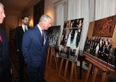 """Crown Prince Alexander, the Prince of Wales and Hereditary Prince Peter touring the exhibition """"Two Royal Families – Historical Ties"""" about the relations between Serbian and British Royal Family"""