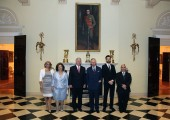 Mrs. Allison Andrews, Crown Princess Katherine, Crown Prince Alexander, the Prince of Wales, Hereditary Prince Peter and Mr. David Andrews in the Black-And-White Hall of the White Palace