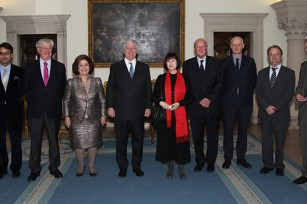 Their Royal Highnesses Crown Prince Alexander and Crown Princess Katarina with Committee on European Affairs of the National Assembly of the Republic of France, led by the Chairman of the Committee, Mrs. Danielle Auroi