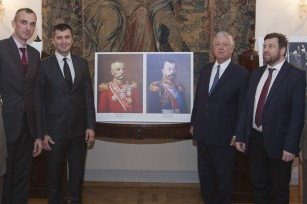 Mr Dusan Babac, member of the Privy Council, HE Mr Zoran Djordjevic, Minister of Defense, HRH Crown Prince Alexander, Mr. Petar Valentinovich Multatuli, Senior Research Fellow of the Institute of RISI from Moscow with Serbian Army officers.
