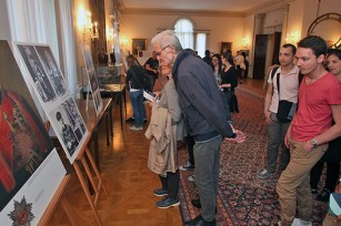 Visitors viewing exhibition at the White Palace dining room