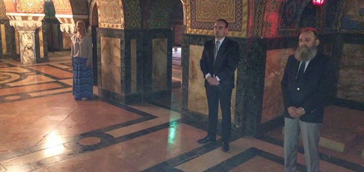 Mr Predrag Markovic and Mr Dragan Reljic at the Royal Mausoleum in St. George Church