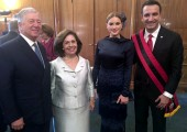 Their Royal Highnesses Crown Prince Alexander and Crown Princess Katherine with Erion Veliaj, Mayor of Tirana