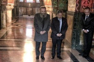 Mr. Predrag Markovic, member of the Crown Council, Mr. Zoran Zivanovic, member of the Crown Cabinet and Mr. Dragan Reljic, Director of The Royal Mausoleum