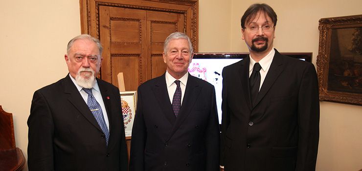 Mr. Dragomir Acovic, chairman of the Crown Council, HRH Crown Prince Alexander, Mr. Ljubodrag Grujic, Herald of the Royal House
