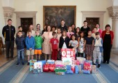 HRH Crown Princess Katherine with the Children from Belgrade international schools