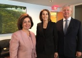 Their Royal Highnesses Crown Princess Katherine and Crown Prince Alexander with Dr. Laurie H. Glimcher, President of Dana-Farber Cancer Institute