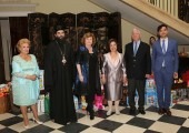Their Royal Hignesses Crown Prince Alexander and Crown Princess Katherine with Ms. Betti Roumeliotis, His Grace Arsenije, Bishop of Toplica and HE Ms. Patricia Feeney, ambassador of Australia with company