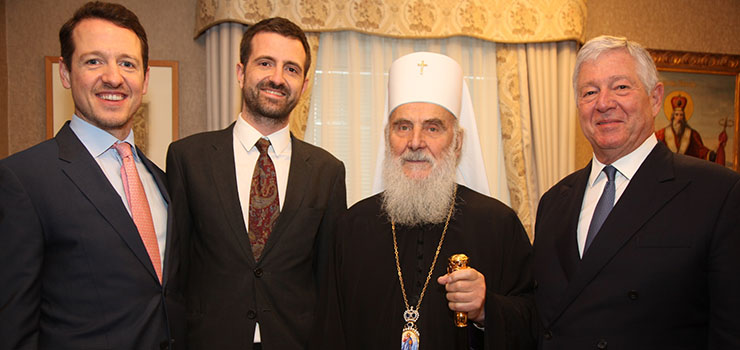 TRH Prince Philip and Prince Peter, His Holiness Serbian Patriarch Irinej, HRH Crown Prince Alexander
