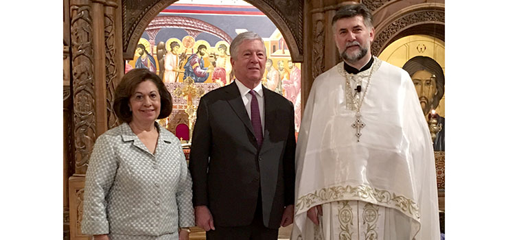 Their Royal Highnesses Crown Princess Katherine and Crown Prince Alexander with Very Rev. Father Aleksandar Vlajkovich