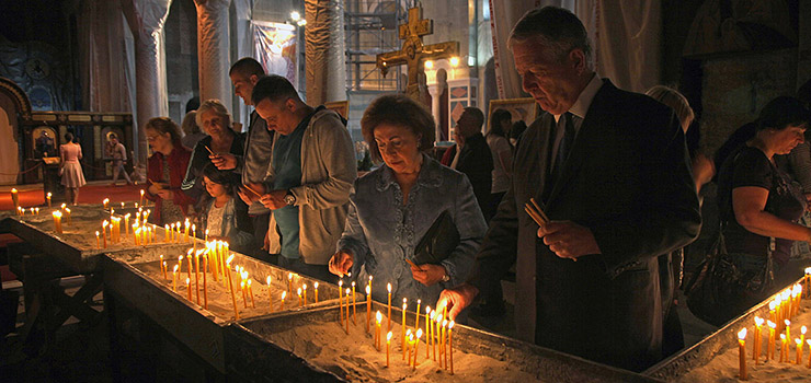 Their Royal Highnesses Crown Prince Alexander and Crown Princess Katherine at the St. Sava Temple
