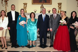 TRH Crown Prince Alexander and Crown Princess Katherine, Mr Mioljub Krsmanovic, General Manager of Metropolis Music, Mrs Jelena Lađarević, Executive Director of Metropolis Music, Mrs Jasmina Jankovic, pianist, and author of the CD and opera singers