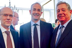 His Royal Highness Crown Prince Alexander with HE Mr. Ognjen Pribicevic, ambassador of Republic of Serbia in the United Kingdom and Mr. Michael Davenport, former head of EU Delegation in Serbia