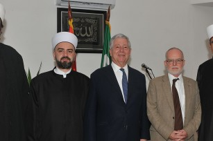HRH Crown Prince Alexander with Islamic community of Serbia representatives and HE Mr. Denis Keefe, Ambassador of the United Kingdom to Serbia, at the marking of end of Ramadan at Bayrakli Mosque