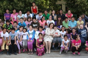 "HRH Crown Princess Katherine with pupils of the school ""Mara Mandic"""