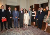 Their Royal Highnesses Crown Prince Alexander and Crown Princess Katherine with the partners and speakers at the White Palace