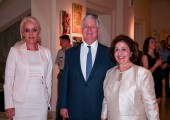 "Their Royal Highnesses Crown Prince Alexander and Crown Princess Katherine with Mrs. Sladjana Zaric, author of the film ""Forgotten Admiral"""