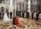 Church wedding in church of St. George in Oplenac
