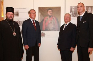 His Grace Bishop Antonije of Moravica, vicar bishop to Patriarch Irinej, HE Mr Alexander Chepurin, ambassador of Russian Federation to Serbia, HRH Crown Prince Alexander, Mr. Dušan Babac, author of the exhibition and a member of the Privy Council