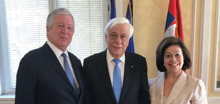 Their Royal Highnesses Crown Prince Alexander and Crown Princess Katherine with Greek President His Excellency Mr. Prokopis Pavlopoulos