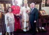Their Royal Highnesses Crown Prince Alexander and Crown Princess Katherine with His Grace, Bishop Mitrophan, Serbian Orthodox Bishop of Canada
