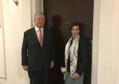 HRH Crown Prince Alexander and Mrs. Christina Oxenberg in front of the apartment 212 in Claridge's hotel where HRH Crown Prince Alexander was born