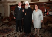 Their Royal Highnesses Crown Prince Alexander and Crown Princess Katherine with His Holiness Irinej the Serbian Patriarch