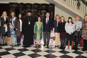 HRH Crown Prince Alexander, His Grace Bishop Antonije of Moravica, HRH Crown Princess Katherine, Donna Sekulich, Danijela Celikovic, Aleksandra Milicevic and Jugoslav Celikovic at traditional Christmas reception at the White palace