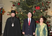HRH Crown Prince Alexander, His Grace Bishop Antonije of Moravica and HRH Crown Princess Katherine at traditional Christmas reception at the White palace