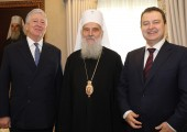 HRH Crown Prince Alexander, Mr. Ivica Dacic, Ivica Dacic, First Deputy Prime Minister and Minister of Foreign Affairs of Serbia and His Holiness Serbian Patriarch Irinej
