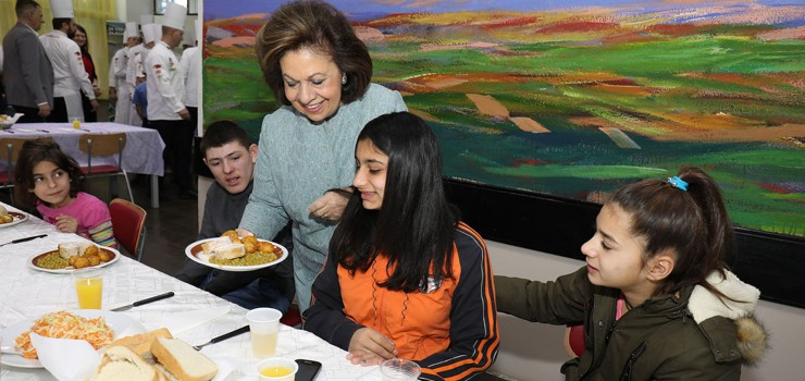 "HRH Crown Princess Katherine serving lunch to children at Home for Children and Youth ""Jovan Jovanovic Zmaj"""
