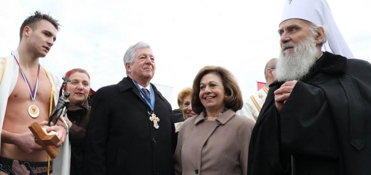 HRH Crown Prince Alexander, HRH Crown Princess Katherine, His Holiness Serbian Patriarch Irinej and Uros Radulovic