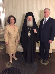 HRH Crown Princess Katherine, His Beatitude Theophilos III Patriarch of Jerusalem and All Palestine and HRH Crown Prince Alexander