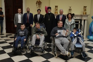 Mr. Marko Kovac and Mr. Ivan Prascevic from Orbico company, Kuwait's Ambassador to Serbia HE Mr. Youssef Ahmad Abdulsamad, Father Vlada Vukasinovic, and TRH Crown Prince Alexander and Crown Princess Katherine with children at the Easter reception at the White Palace