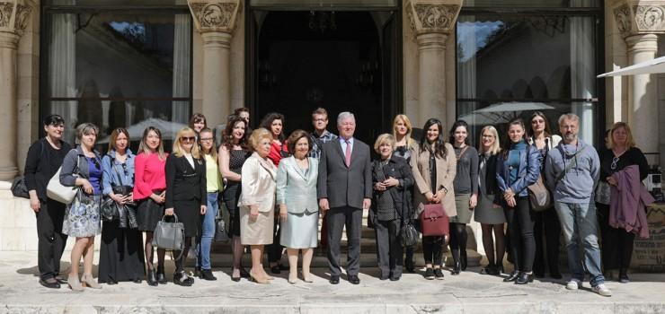 Their Royal Highnesses Crown Prince Alexander and Crown Princess Katherine and Mrs. Betty Roumeliotis with media representatives at the tourist season opening