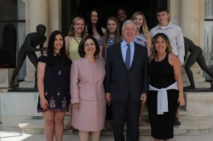 Their Royal Highnesses Crown Princess Katherine and Crown Prince Alexander with Prof. Susan Parker and students from Robert Morris University