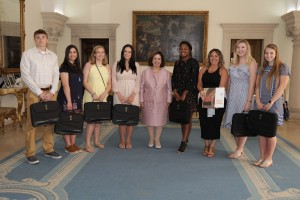 HRH Crown Princess Katherine with Prof. Susan Parker and students from Robert Morris University