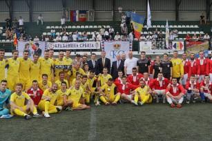 TRH Prince Radu of Romania and Crown Prince Alexander of Serbia with both teams
