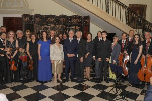 Their Royal Highnesses Crown Prince Alexander and Crown Princess Katherine with the members of the Royal Strings of St. George