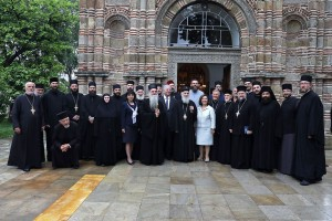Their Royal Highnesses Crown Prince Alexander and Crown Princess Katherine with Patriarch Irinej, Bishop David and clergy of Diocese of Krusevac in front of Lazarica church