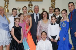 TRH Crown Prince Alexander and Crown Princess Katherine, Alison and Mr. Ivan Mileusnic with the dancers